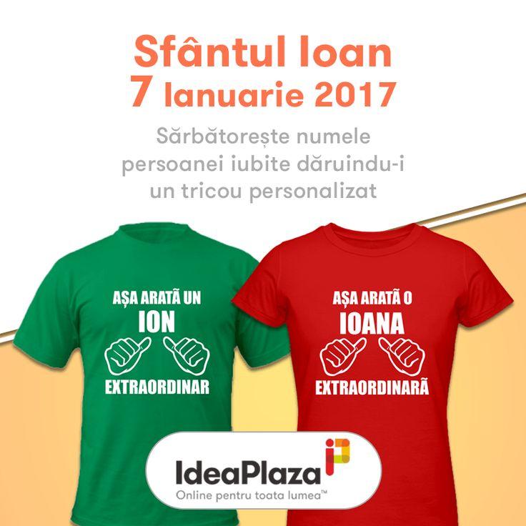 Sambata (7 Ianuarie 2017) este Sfantul Ioan asa ca.... sarbatoreste numele persoanei iubite daruindu-i un tricou personalizat --- https://goo.gl/Sr2Zxh   #ion #ioan #ioana #sfioan