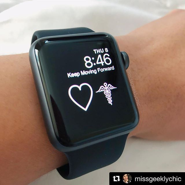 #Repost @missgeeklychic  A BIG shout out to my lovely friend over at @applewatchfanz for telling me about a new app to customize my Apple Watch face. Its actually still the same with the caduceus but I got to add my life motto Keep Moving Forward I absolutely LOVE that saying. I helps remind me that no matter what keep going keep fighting keep working towards your goals. Yes lifes a witch sometimes you get knocked down you fall on hard times but none of that last forever you KEEP MOVING…
