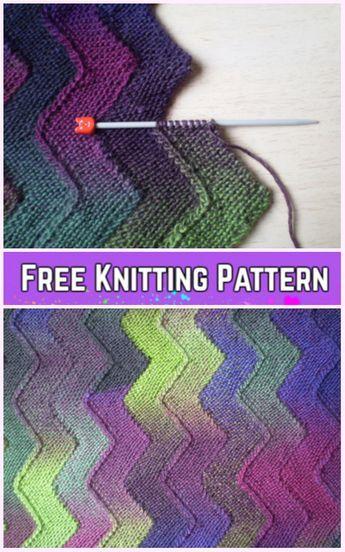 Garter Stitch Knit Ten Ponto Ziguezague Cobertor Livre Tricô Padrão