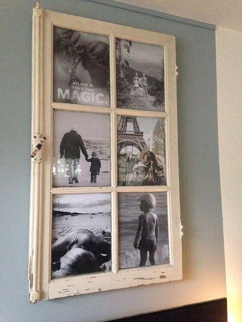 Decoratie-tip! Brocante raam/kozijn, hier getoond met een foto-decoratie. Raam @ GoedGevonden