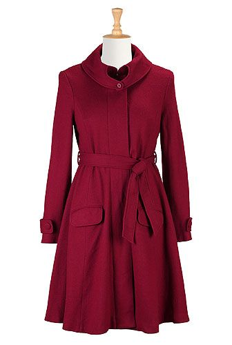 I <3 this Heart collar wool blend coat from eShakti