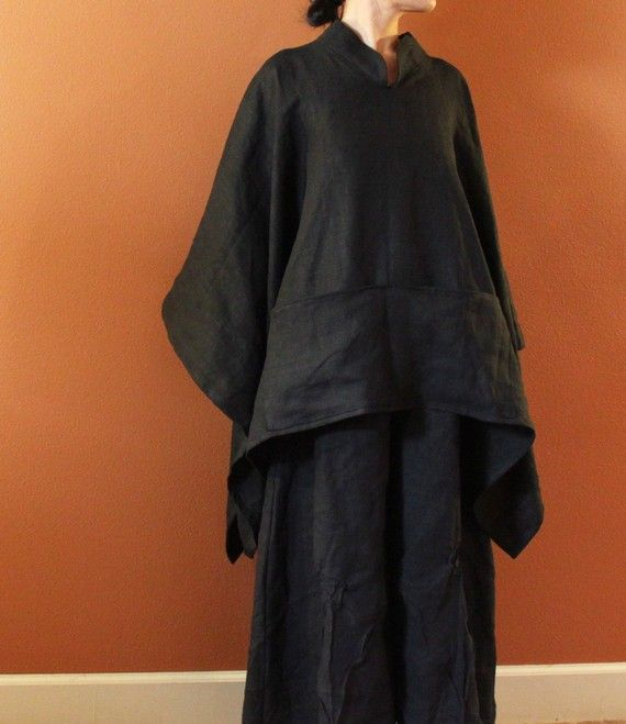 annyschooecoclothing, custom heavy linen swallow poncho coat with big pockets