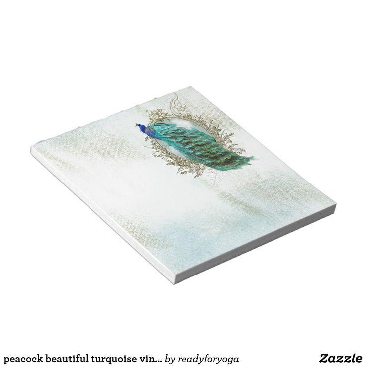 peacock beautiful turquoise vintage shabby bird notepad