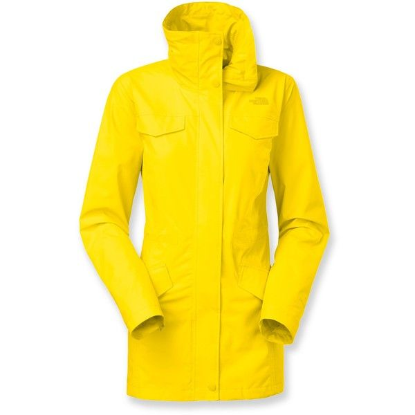 The North Face Romera Rain Jacket featuring polyvore women's fashion clothing outerwear jackets coats rain jacket travel rain jacket long rain jacket yellow jacket yellow rain jacket