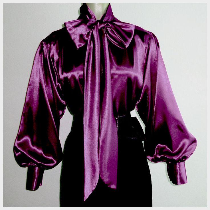 PLUM Shiny LIQUID SATIN Bow BLOUSE Top vtg HIGH NECK Shirt USA * S M L 1X 2X 3X #tamarstreasures #Blouse #EveningOccasion