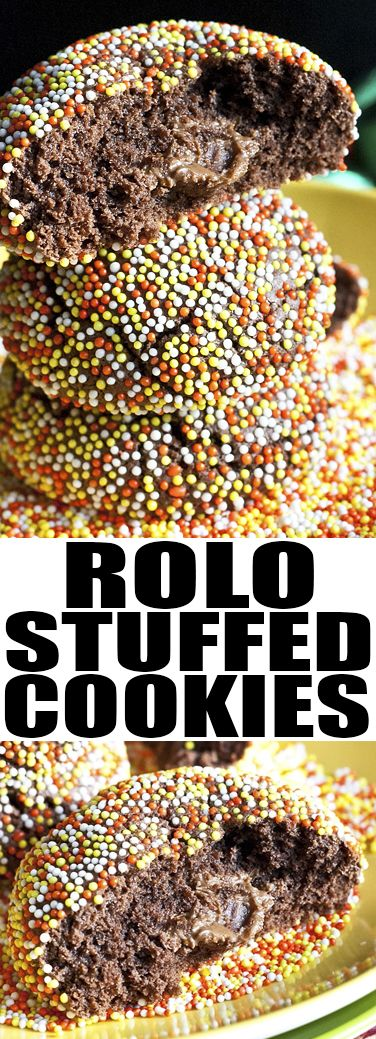 These chocolate ROLO COOKIES are crispy on the outside but soft and fudgy on the inside. These easy stuffed cookies are great for holidays as a homemade gift or a snack. From cakewhiz.com