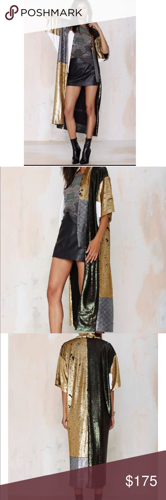 Native Rose Havana Sequin Kimono New without tags! Due to the item being made out sequin. It's bound to have some missing. In great condition. Nasty Gal Jackets & Coats