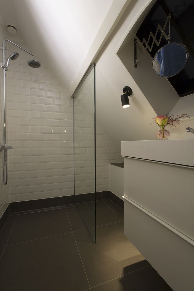 Grey and white bathroom in the attic