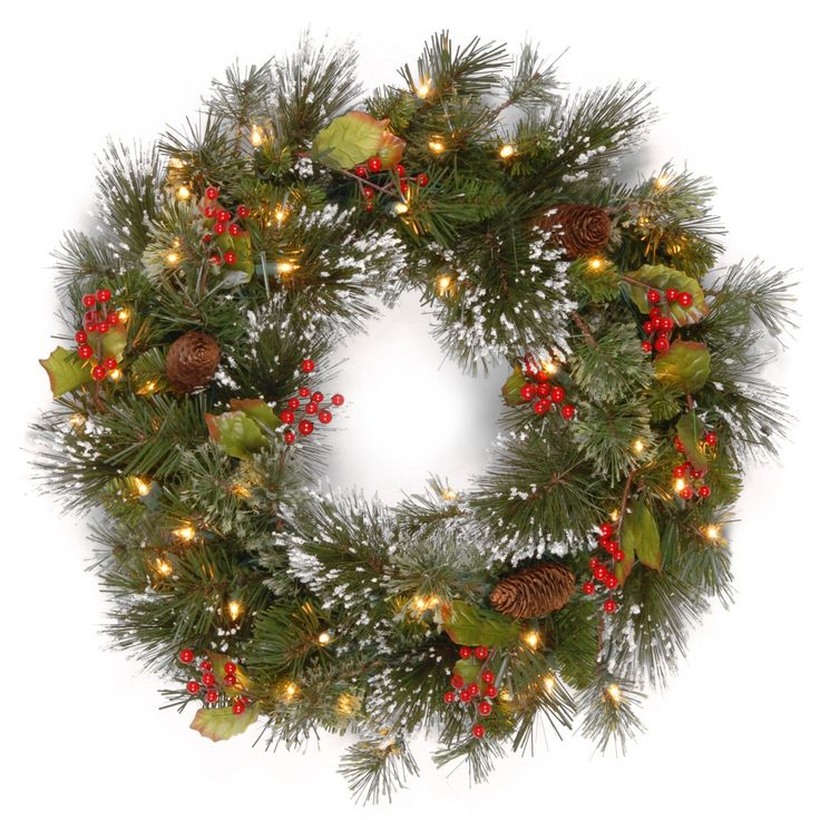 Have to have it. 24 in. Wintry Pine Pre-Lit Wreath - $34.99 @hayneedle