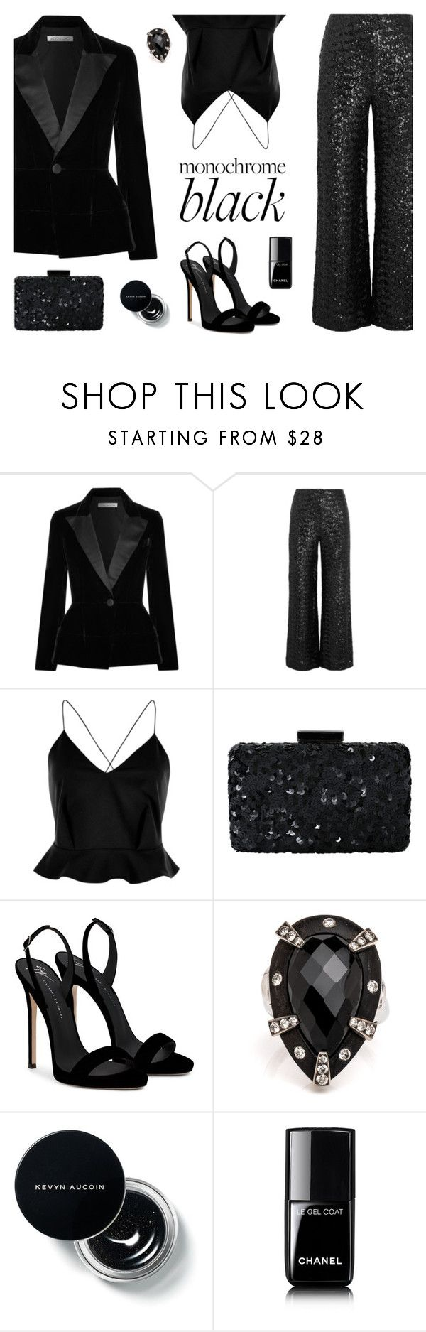 """Black Magic"" by stavrolga on Polyvore featuring Oscar de la Renta, Roland Mouret, River Island, Giuseppe Zanotti, Chanel, velvet and allblackoutfit"