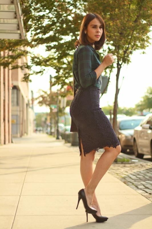 plaid shirt & navy lace skirt (exposed brass zipper)