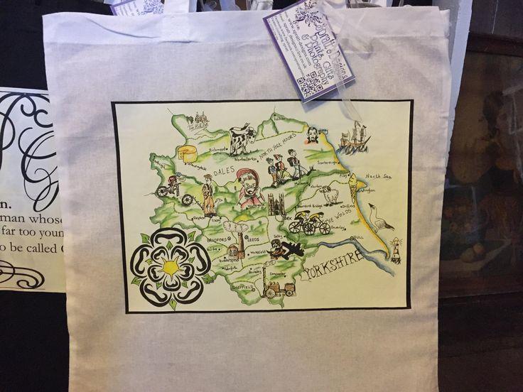 Cartoon Yorkshire Map Print Tote Bag, shopping, shoulder, bag, Funny, humorous, Regional Map, by SprattsDesigns on Etsy