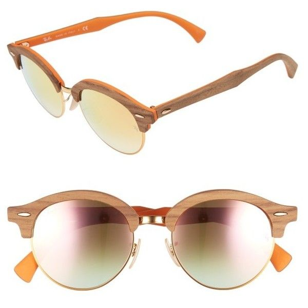 Women's Ray-Ban 51Mm Mirrored Round Sunglasses ($315) ❤ liked on Polyvore featuring accessories, eyewear, sunglasses, bronze, round glasses, ray ban sunglasses, round lens sunglasses, mirrored sunglasses and ray ban glasses