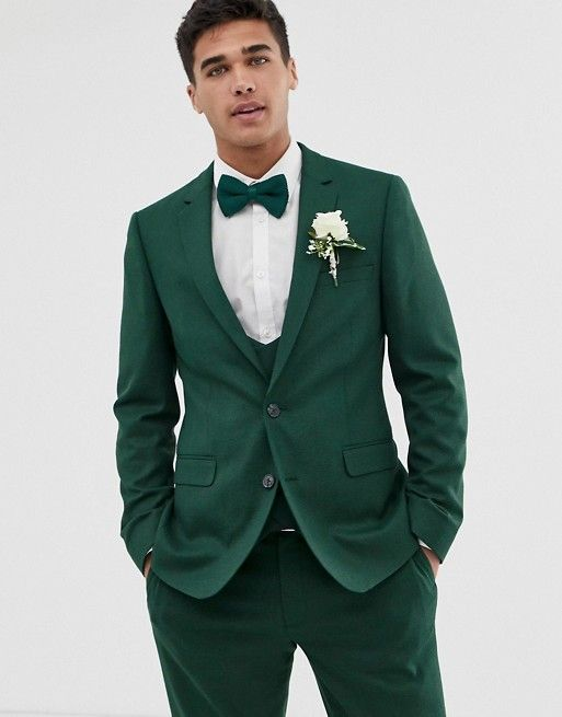 31ad77e0ebe6 ASOS DESIGN wedding skinny suit jacket in forest green micro texture | ASOS