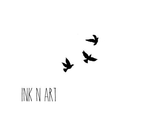 3 Little swallows birds tattoo - (InknArt Temporary Tattoo) wrist quote tattoo body sticker fake tattoo wedding tattoo small tattoo