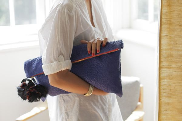Clare VivierHandbags, Style, Over Clutches, Laptops Cases, Oversized Clutches, Royal Blue, Pom Pom, Leather, Clare Vivier