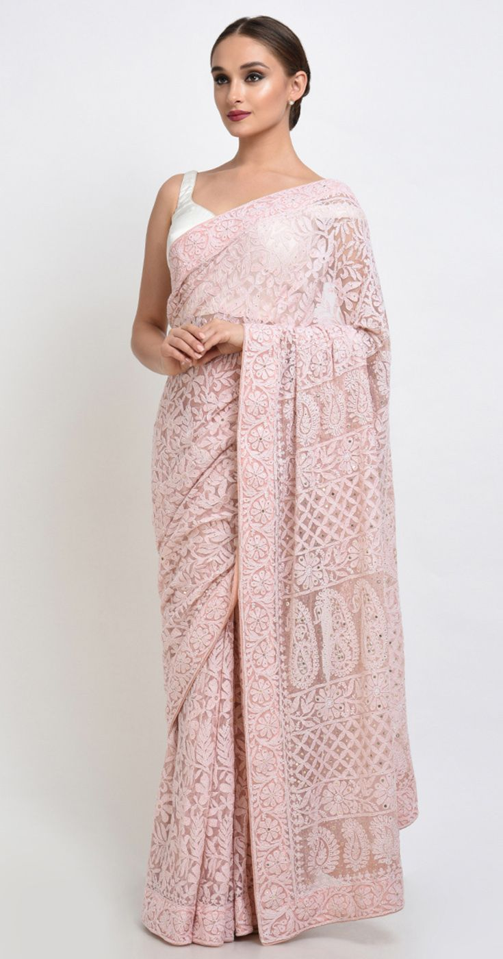Dusty Rose Chikankari And Kamdani Net Saree