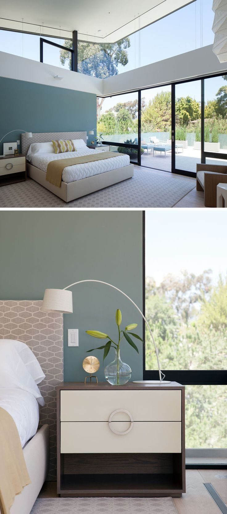 2015 08 decorating with plum and damson - In This Modern Bedroom A Deep Teal Blue Accent Wall Has Been Added For A Touch Of Color And Sliding Glass Doors Open To A Private Patio With Views Of The