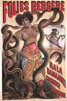 Poster for the 'Hindu' snake charmer Nala Damajanti  performing at the Folies Bergere. c.1890
