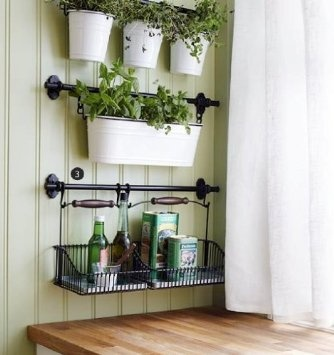 Ikea Fintorp Steel Condiment Kitchen Spice Holder Storage Organizer Cutlery  Caddy/Plant Pot Along With Kitchen Pot Rack Utensil Storage Organizer And 5  ...
