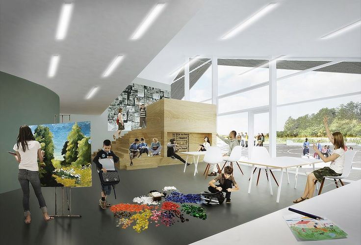 """Hjertet"" (the Heart) in Ikast by C.F. Møller Architects, a multi-stakeholder building combining an expansion of the International School Ikast-Brande with public sports and job training facilities for a wide group of users."