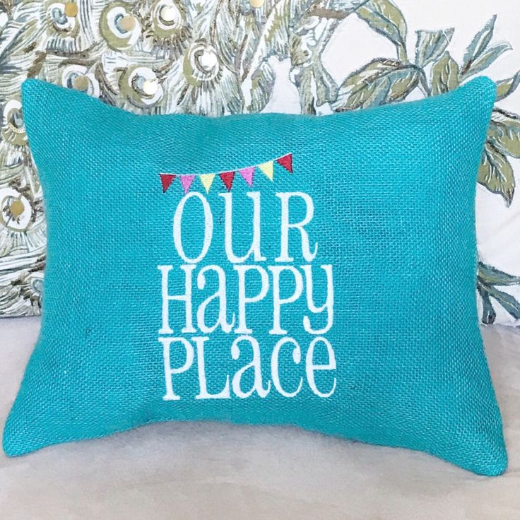 Camper RV Decor, Camping Throw Pillow, Summer Party Gift, Our Happy Place, New Home Travel Gift, Rustic Home Decor, No Pillow Form Needed by MakingSomethingHappy on Etsy https://www.etsy.com/listing/526927849/camper-rv-decor-camping-throw-pillow