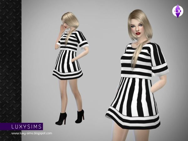 Striped Short Dress by LuxySims3 at TSR via Sims 4 Updates