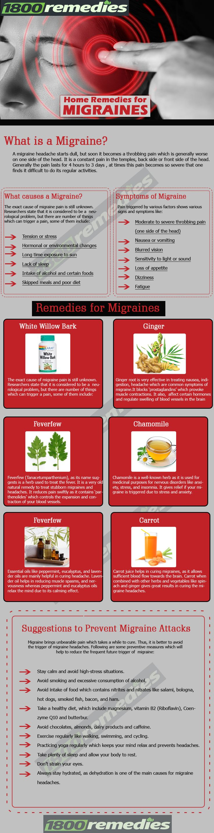 As you read this article, you will discover plenty of best home remedies for migraines which you can use to cure migraine at your home. www.1800remedies.com