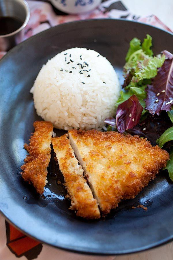 Chicken Katsu is Japanese fried chicken cutlet with bread crumbs/panko. Easy chicken katsu recipe, served with Tonkatsu sauce | rasamalaysia.com