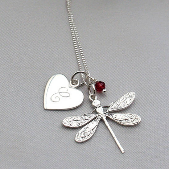 Personalised Silver Charm Dragonfly Necklace By Claudette Worters.  Available from http://www.claudetteworters.co.uk from £37.50