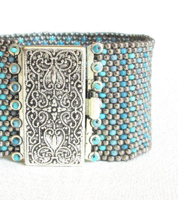 teal beaded cuff silver beaded bracelet silver and by beadnurse