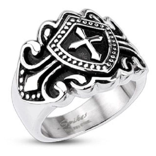 Men's 316L Stainless Steel Royal Cross Shield Ring Biker Jewelry R113 #Spikes #Band