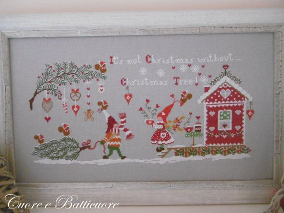 Non e Natale senza Albero di Natale : Cuore d Batticuore Prive cross stitch patterns Christmas Winter hand embroidery by thecottageneedle