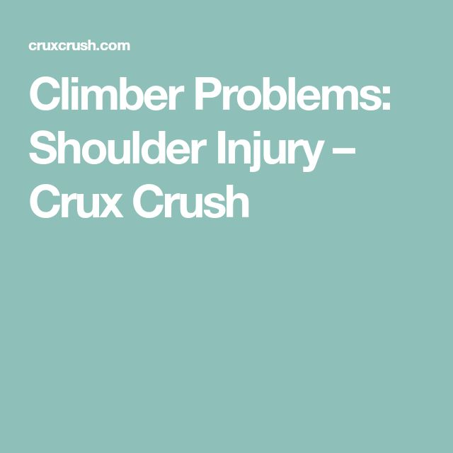 Climber Problems: Shoulder Injury – Crux Crush