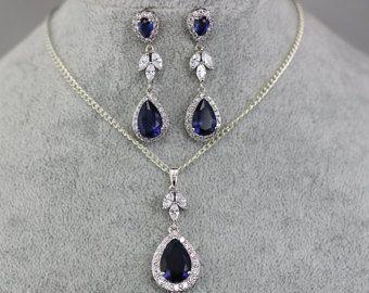 Navy Blue Orecchini damigelle regalo nozze zaffiro blu