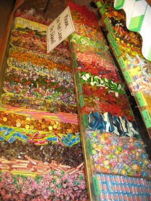"""Penny candy!  I remember get a dime and going to the corner store """"The Mighty Midget"""" and getting a full brown paper bag full of this glorious stuff.....black balls, green mint leaves,  strawberries, pixie stix etc..."""