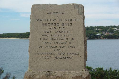 Bass & Flinders Memorial Inscription at Bass & Flinders Point, Cronulla NSW