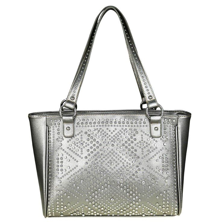 Montana West Concealed Handgun Tote Purse Bling Collection Silver Crystal Silver #AJTackWholesaleInc #TotesShoppers