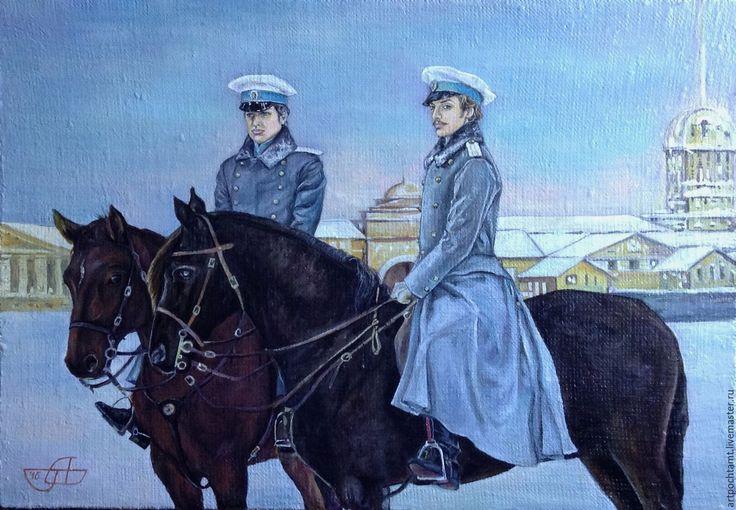 Купить Картина маслом Зима в Петербурге - всадники, офицеры, кони, лошади - историческая живопись