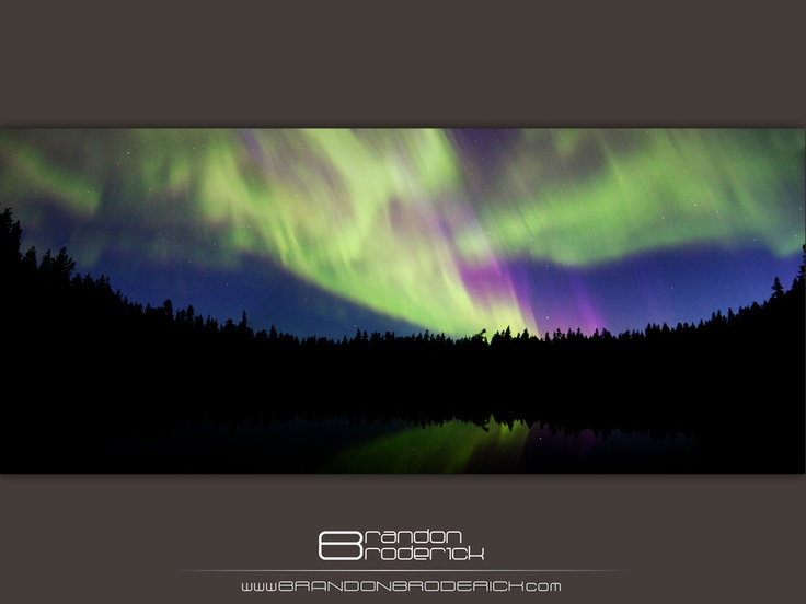 The Northern Lights, or Aurora Borealis, over Lost Lake near Terrace, British Columbia.