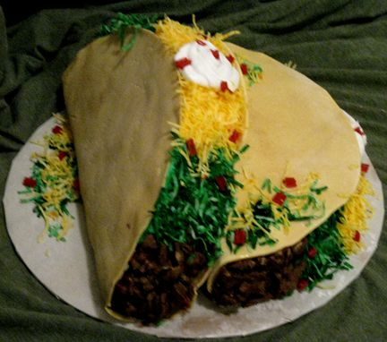Cakes that look real   Looks like real taco, but is completely made with chocolate, and other cake