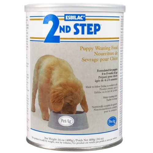 $10.17-$12.00 PetAg Esbilac 2nd Step Puppy Weaning Food 14oz - A highly digestible complete food for young growing puppies. Esbilac 2nd Step Puppy Weaning Food is a creamy transitional cereal developed to follow Esbilac, for easy transition from milk to solid food. It s completely balanced nutrition meets the nutritional requirements for growth established by the Association of American Feed Cont ...