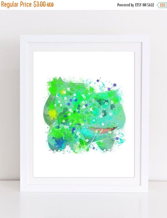 60%OFF Pokemon Bulbasaur Poster Watercolor Pokemon Poster