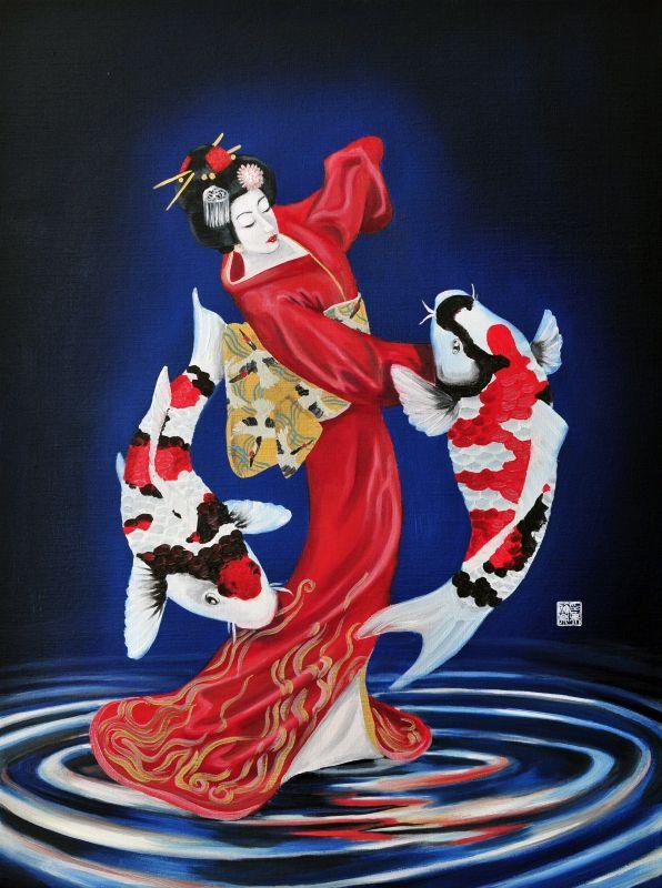 Dance with strenght and good luck #koi #Japan #geisha #maiko #dance #luck #art #painting  http://www.ingoleth.nl/gallery/dance-with-strenght-and-good-luck