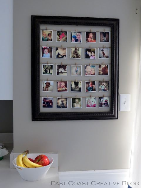 Frame w. wire and mini clothespins to easily rotate pictures  (East Coast Creative)