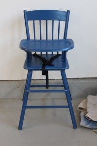 blue painted high chair modge podge idea!
