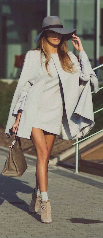 Women's fashion - style - cute outfit - street chic - grey - floppy hat - cape - boots - booties - classy - beautiful