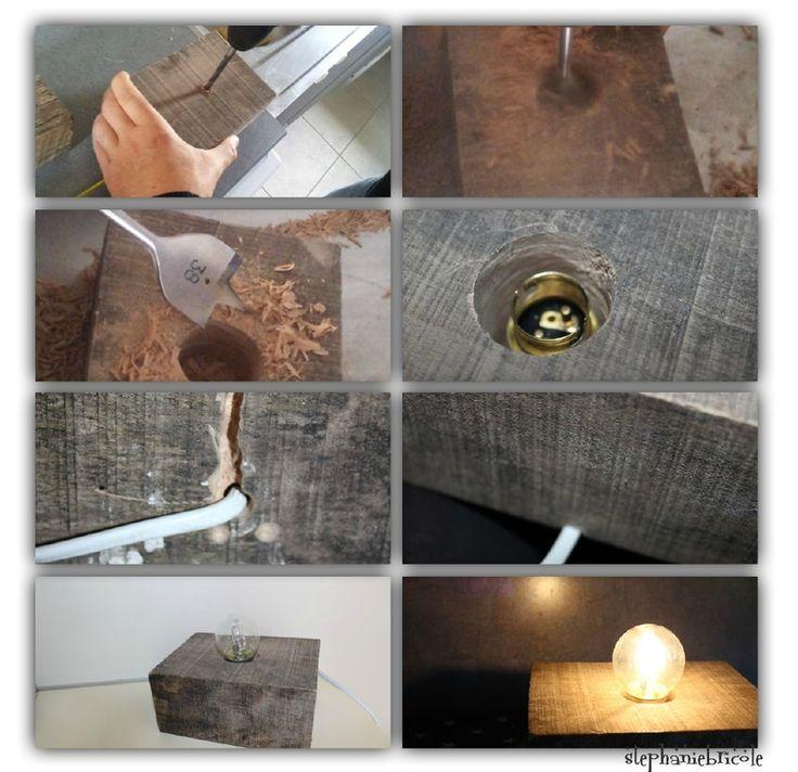 faire soi meme une lmape avec du bois, diy lampe esprit industriel