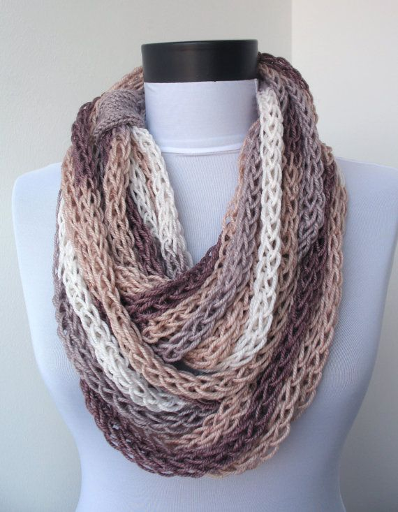Scarf necklace - loop scarf -infinity scarf -neck warmer -hand knitted- cashmere -cream, grey, brown,white