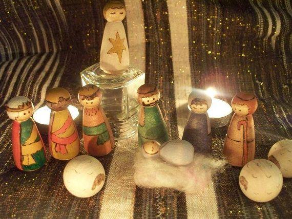 Christmas Nativity Peg Doll Set - Waldorf on Etsy, $45.00